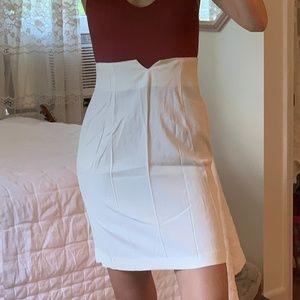 Vintage High Waist Western White Pencil Slip Skirt